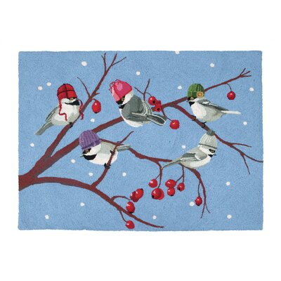 Winter Chickadees Hook Area Rug