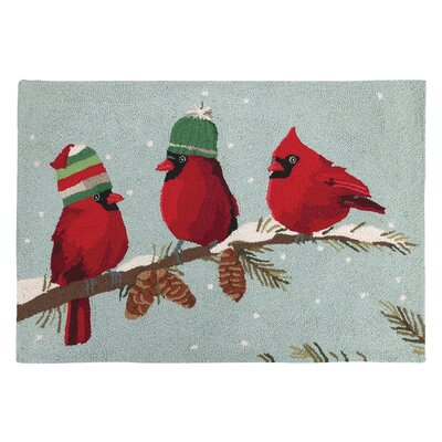 Red Birds Hook Area Rug