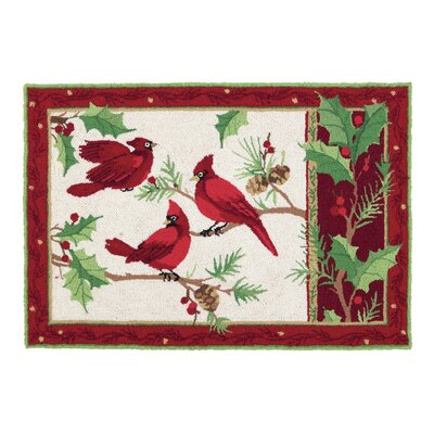 Winterberry Cardinals Hook Area Rug
