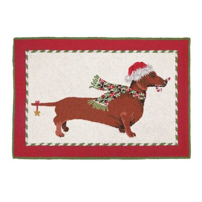 Candy Cane Dachshund Hook Area Rug