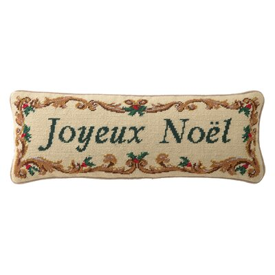 Embroidered Joyeux Noel Wool Lumbar Pillow