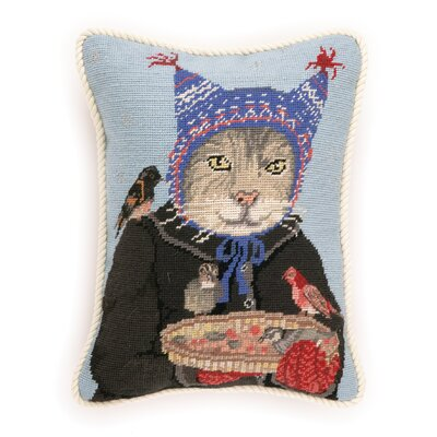 Needlepoint Hat Cat Wool Throw Pillow