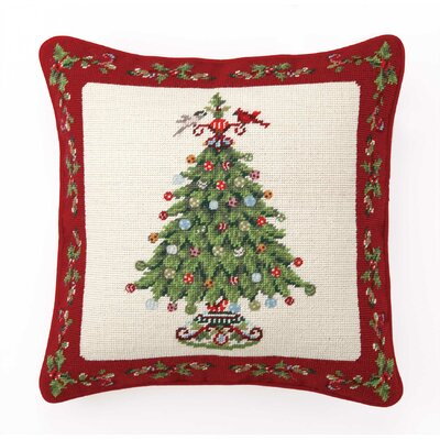 Needlepoint Holly Garden Tree Wool Throw Pillow