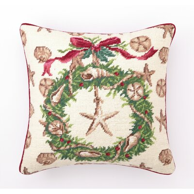 Beach Christmas II Needlepoint Throw Pillow