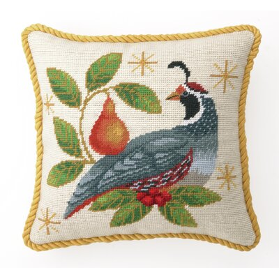 Winter Partridge Needlepoint Throw Pillow