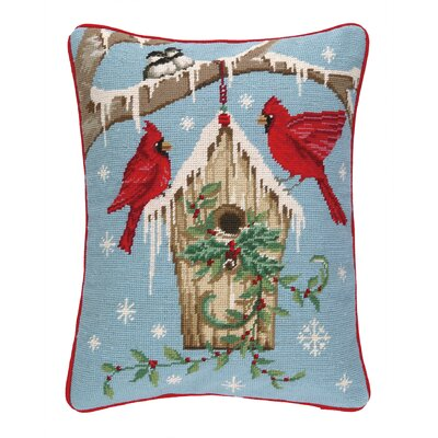 Winter Nest Birdhouse Needlepoint Lumbar Pillow