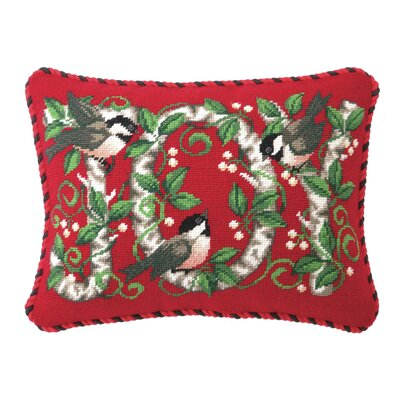 Joy Chickadee Needlepoint Lumbar Pillow