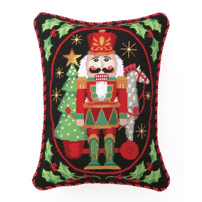 Nutcracker with Pull Toy Needlepoint Lumbar Pillow