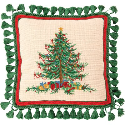 Needlepoint Classic Christmas Wool Throw Pillow
