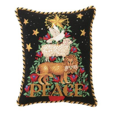 Peace Animal Needlepoint Lumbar Pillow