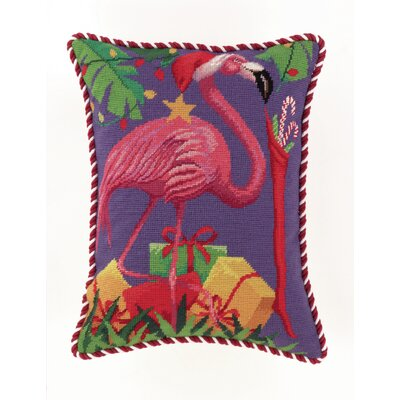 Holiday Flamingo Needlepoint Lumbar Pillow