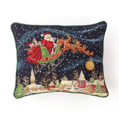 Santa in Snowy Sky Needlepoint Lumbar Pillow