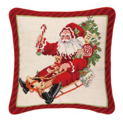 Sledding Santa Needlepoint Throw Pillow