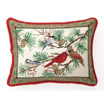Needlepoint Snowbirds Wool Lumbar Pillow