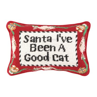 Needlepoint Good Cat Wool Lumbar Pillow