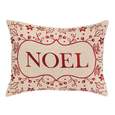 Noel Foliage Embroidery Linen Throw Pillow