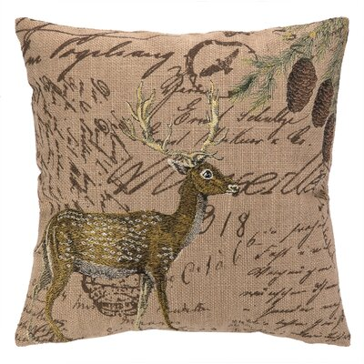 Deer Burlap Wool Throw Pillow