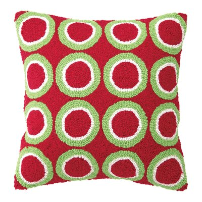 Circles Hook Wool Throw Pillow Color: Red