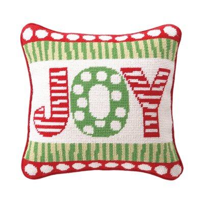 Joy Needlepoint Reversible Wool Throw Pillow