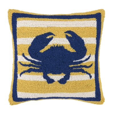 Crab Hooked Wool Throw Pillow
