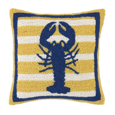 Lobster Hooked Wool Throw Pillow