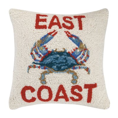 East Coast Hooked Wool Throw Pillow
