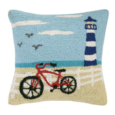 Summer Bike and Beach House Hook Throw Pillow