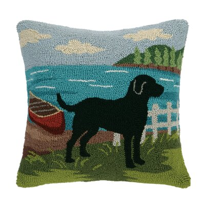 Black Lab Canoe Wool Throw Pillow