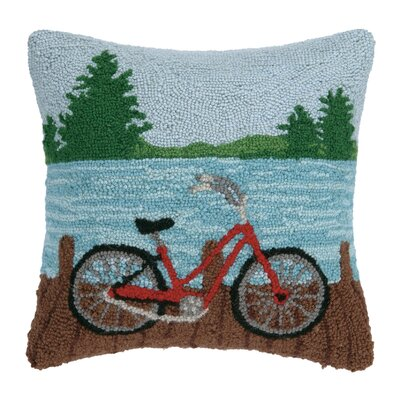 Lake Bike Wool Throw Pillow