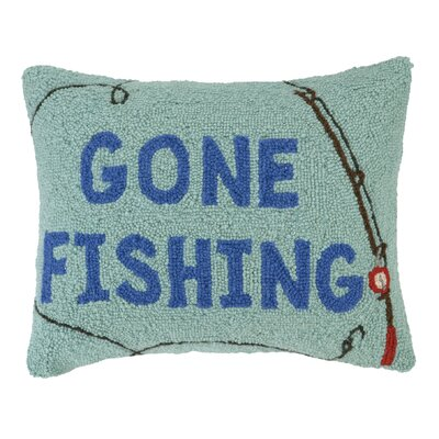 Gone Fishing Wool Lumbar Accent Pillow
