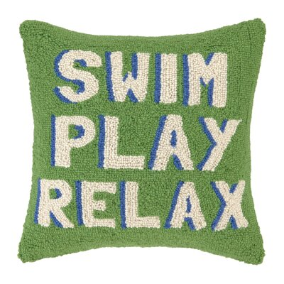 Swim Play Relax Wool Throw Pillow