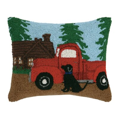 Cabin, Truck, Dog Hook Wool Lumbar Pillow