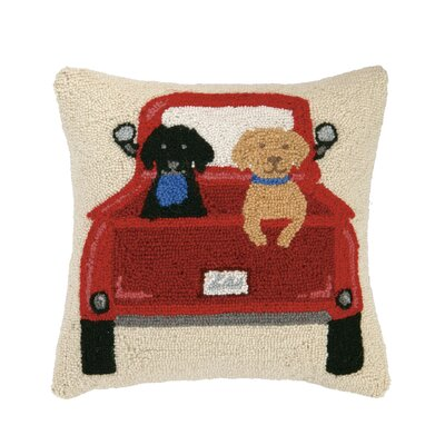 Cabin, Truck, Dog Hook Wool Throw Pillow