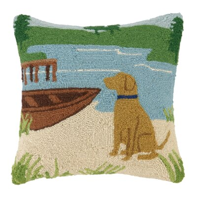 Lake Dog Hook Wool Throw Pillow