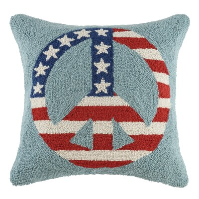 Usa Flag Hook Wool Lumbar Pillow Finish: Peace Flag