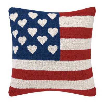 Flag with Hearts Wool Throw Pillow