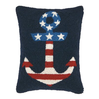 Usa Flag Hook Wool Lumbar Pillow Finish: Flag in Anchor