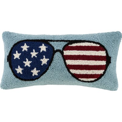 USA Flag Sunglasses Wool Lumbar Pillow
