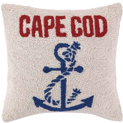 Anchor, Beach and Whale Hook Wool Throw Pillow
