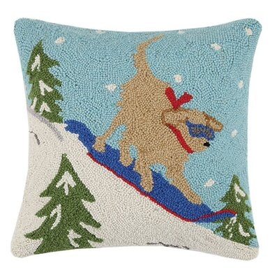 Holiday Snowboarding Dog Hook 100% Wool Throw Pillow