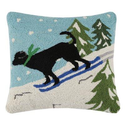 Holiday Skiing Dog Hook 100% Wool Throw Pillow