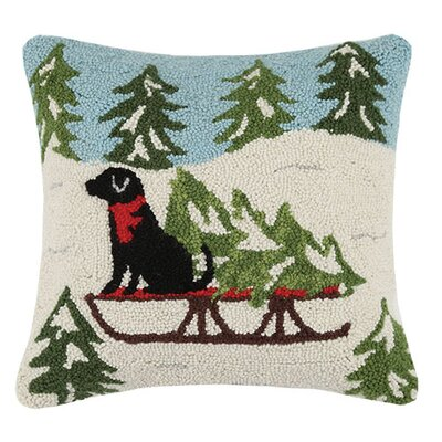 Holiday Dog and Sled Hook 100% Wool Throw Pillow