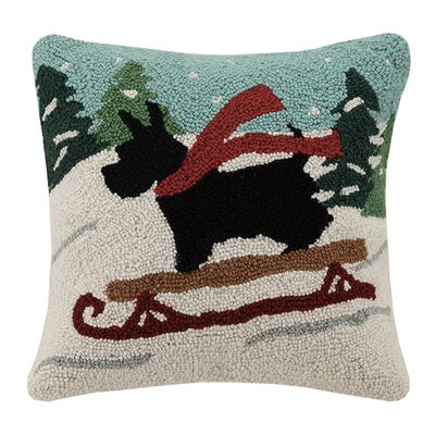 Holiday Scottie Dog Hook 100% Wool Throw Pillow