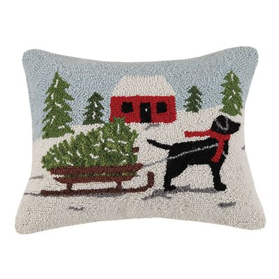 Holiday Black Lab with Sleigh Hook 100% Wool Lumbar Pillow