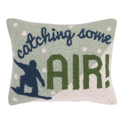 Holiday Catching Some Air Hook 100% Wool Lumbar Pillow