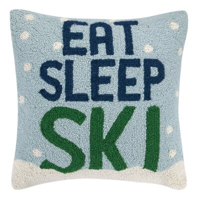 Holiday Eat Sleep Ski Hook 100% Wool Throw Pillow