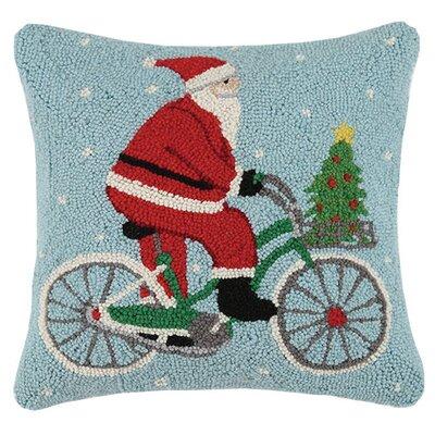 Holiday Snowman and Santa Hook 100% Wool Throw Pillow