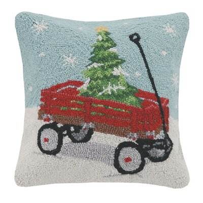 Holiday Wagon Hook 100% Wool Throw Pillow
