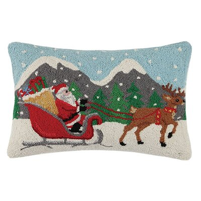Holiday Santa Sleigh Hook Wool Lumbar Pillow