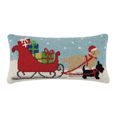 Holiday Melody Dogs Pulling Sleigh Hook Wool Lumbar Pillow
